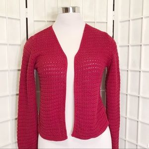 Red Cropped Cotton Knit Open Cardigan Sweater Sz S